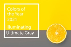 Colors of the year 2021 Ultimate Gray and Illuminating background. Yellow illuminating Lemon on ultimate gray background.