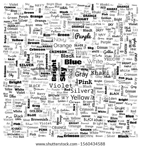 colors word cloud. word cloud use for banner, painting, motivation, web-page, website background, t-shirt & shirt printing, poster, gritting, wallpaper (illustration)