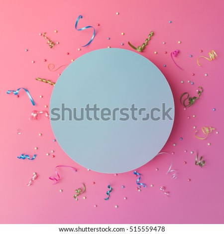 Colorul party streamers on pink background. Celebration concept. Flat lay. #515559478