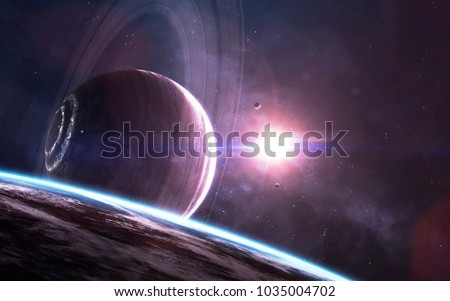 Colossal gas giant. Science fiction wallpaper, planets, stars, galaxies and nebulas in awesome cosmic image. Elements of this image furnished by NASA #1035004702