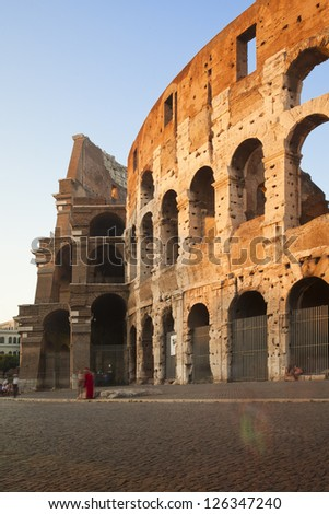 colosseo close up at sunset, Rome, Italy