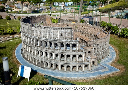 Colosseo in park of miniature, Rimini, Italy