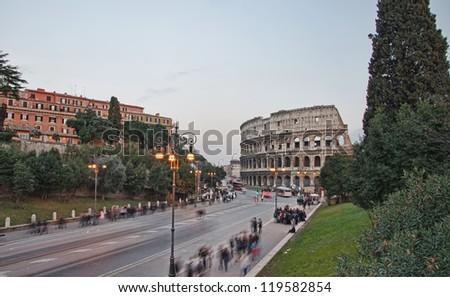 Colosseum and Via dei fori imperiali in Rome, Italy
