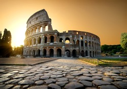 Colosseum and yellow sky in Rome, Italy