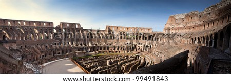 Colosseum  Architecture Interior Inside at Rome Italy ,panorama photo