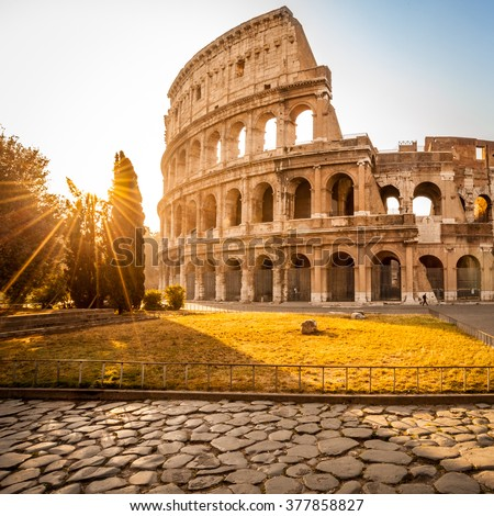 Colosseum at sunrise, Rome, Italy. Rome architecture and landmark. Rome Colosseum is one of the best known monuments of Rome and Italy