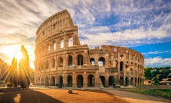Colosseum at sunrise, Rome. Rome best known architecture and landmark. Rome Colosseum is one of the main attractions of Rome and Italy