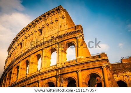 Colosseum at sunset in Rome, Italy - stock photo