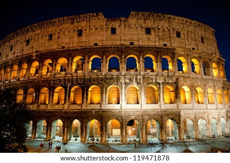 Colosseum glowing in the evening, Rome, Italy