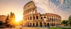 Colosseum in Rome at sunrise, Italy, Europe.