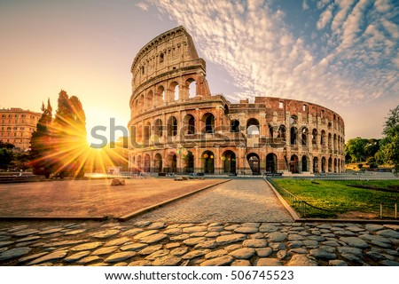 Colosseum in Rome at sunrise, Italy, Europe. #506745523