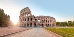Colosseum in Rome. Colosseum is the most landmark in Rome at sunrise - Rome, Italy