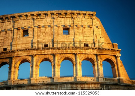 Colosseum in Rome during sunset, Italy