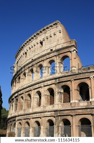 Colosseum in Rome, Italy. Ancient architecture. Vertical composition