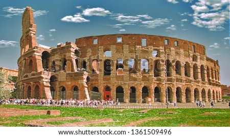 Colosseum in Rome, Italy - artwork in painting style