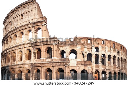 Colosseum in Rome, Italy isolated white,