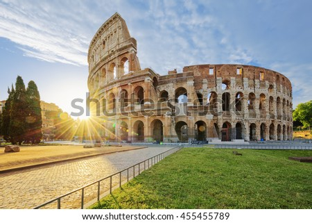 Colosseum in Rome with morning sun, Italy, Europe.