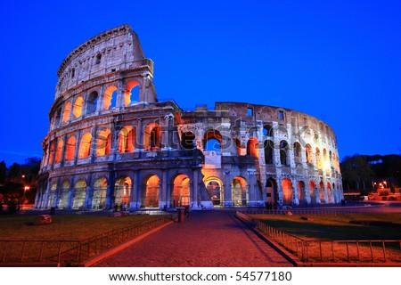 Colosseum in Twilight, the Perfect evening at Rome,Italy.