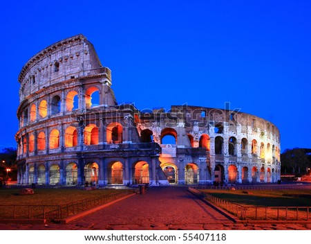 Colosseum in Twilight with Normal Perspective