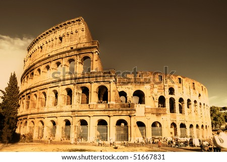 Colosseum  - italian landmarks series-artistic toned picture - stock photo