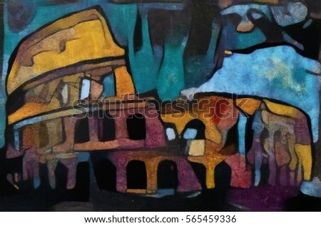Colosseum. Modern abstraction in dark blue and orange colors. Executed in oil on canvas with elements of pastel painting.