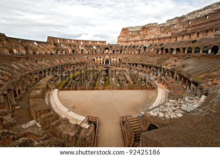 Colosseum or Coloseum Architecture Interior Inside at Rome Italy
