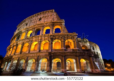 Colosseum or coloseum Dome in Twilight night with ultra-wild Perspective. Colosseum is Italy landmark located in Rome.