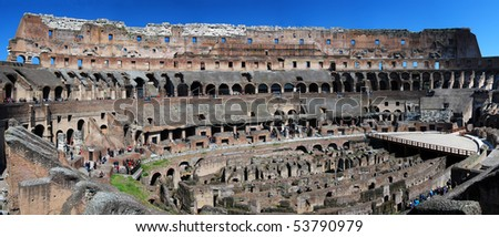Colosseum or Colosseo, the ancient amphiteatre of Rome