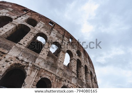 Colosseum , Rome, Italy. Rome landmark and antique architecture. Rome Colosseum is one of the best known monuments of Rome and Italy