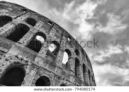 Colosseum , Rome, Italy. Rome landmark and antique architecture. Rome Colosseum is one of the best known monuments of Rome and Italy. black and white.