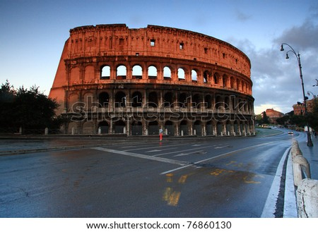 Colosseum Rome Italy Sun rise in the Morning