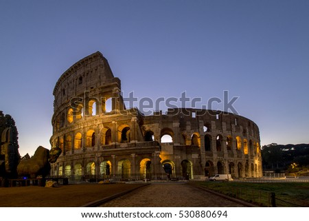 Colosseum rome view ,history famous landmark historic of italy.Italian and tourist people come to visit in this building.