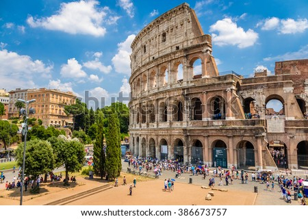 Colosseum with clear blue sky, Rome, Italy