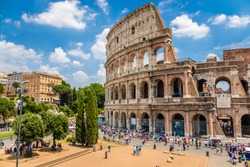 Colosseum with clear blue sky, Rome, Italy. Rome landmark and antique architecture. Rome Colosseum is one of the best known monuments of Rome and Italy