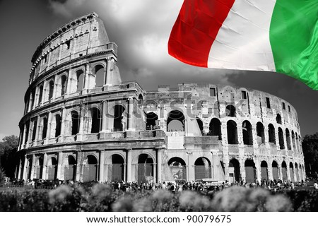 Colosseum with flag of Italy, Rome