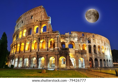Colosseum with full moon at dusk, Rome, Italy