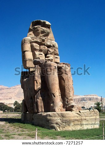 Colossi of Memnon next the city of Luxor in Egypt.