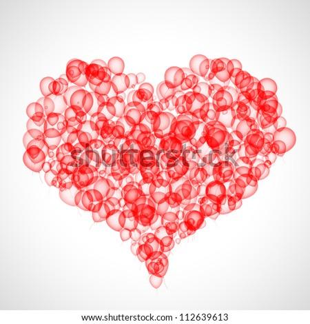 Colour balloons make heart shape over grey background