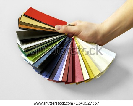 Colour cardboard swatches . Color palette guide. Colorful scale. Colorful cardboards for print bussiness cards, postcards, posters and other polygraphic products. #1340527367