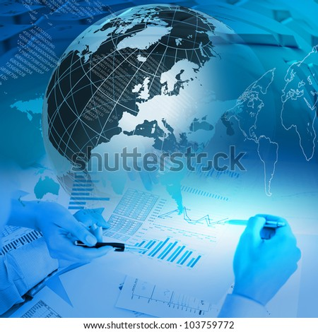 Colour collage with financial and business charts and graphs