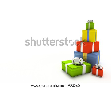 Colour gift boxes on white background