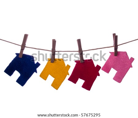 Colour Houses on the rope isolated