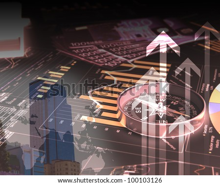 Colour illustration of business and financial charts and graphs