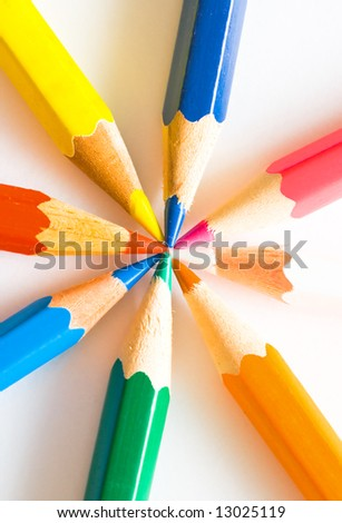Colour pencils isolated on the white