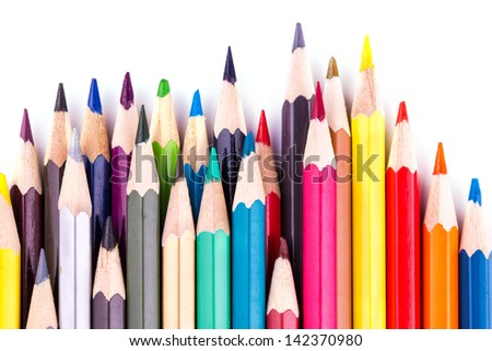 Colour pencils isolated on white. Back to school concept.
