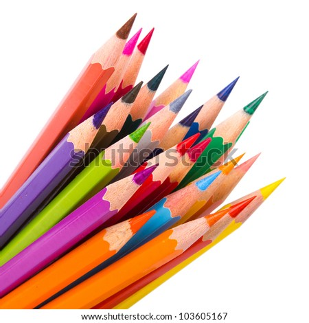 Colour pencils isolated on white background close up #103605167