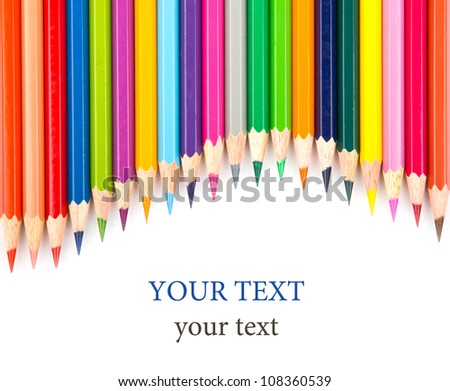 Colour pencils isolated on white background close up #108360539