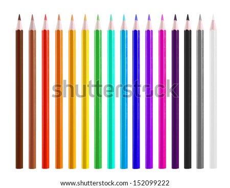 Colour pencils isolated on white background close up #152099222