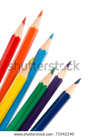 Colour pencils isolated on white  background close up #71942140