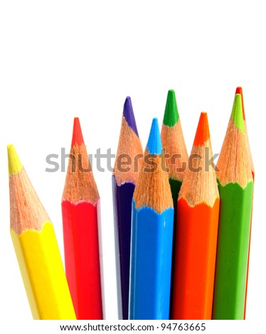 Colour pencils on a white background.